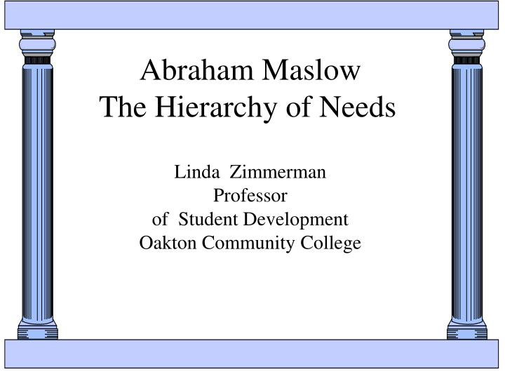 abraham maslow the hierarchy of needs n.