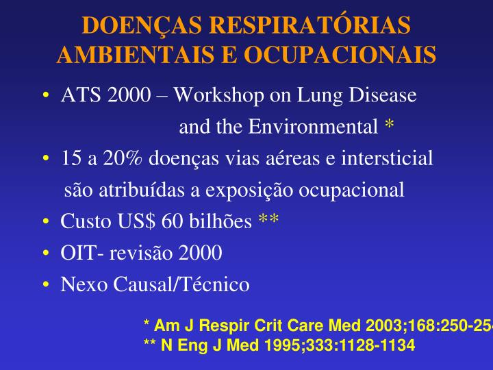 Doen as respirat rias ambientais e ocupacionais