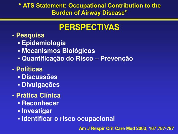 """"""" ATS Statement: Occupational Contribution to the Burden of Airway Disease"""""""