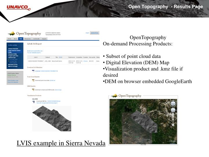 Open Topography  - Results Page