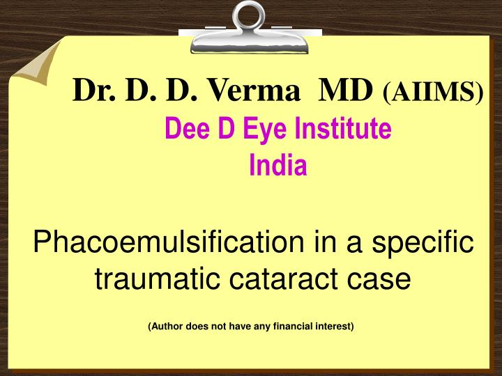 dr d d verma md aiims dee d eye institute india n.
