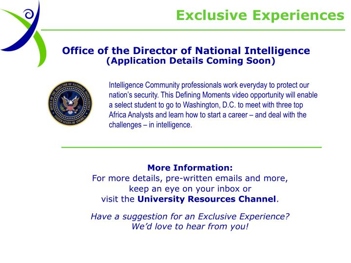Exclusive Experiences