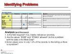identifying problems