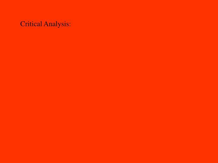 Critical Analysis: