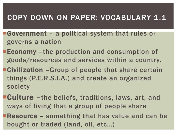 copy down on paper vocabulary 1 1 n.