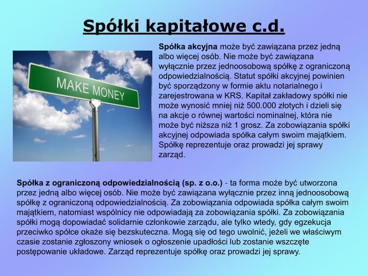 Spółki kapitałowe c.d.