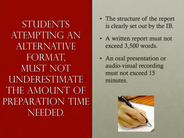 STUDENTS ATEMPTING AN ALTERNATIVE FORMAT,