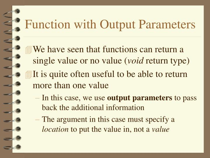 function with output parameters n.