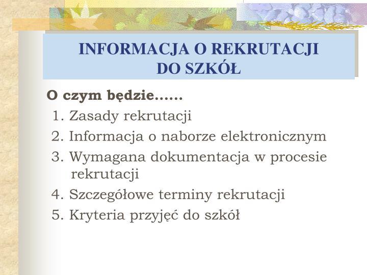 Informacja o rekrutacji do szk1