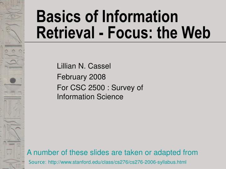 basics of information retrieval focus the web n.