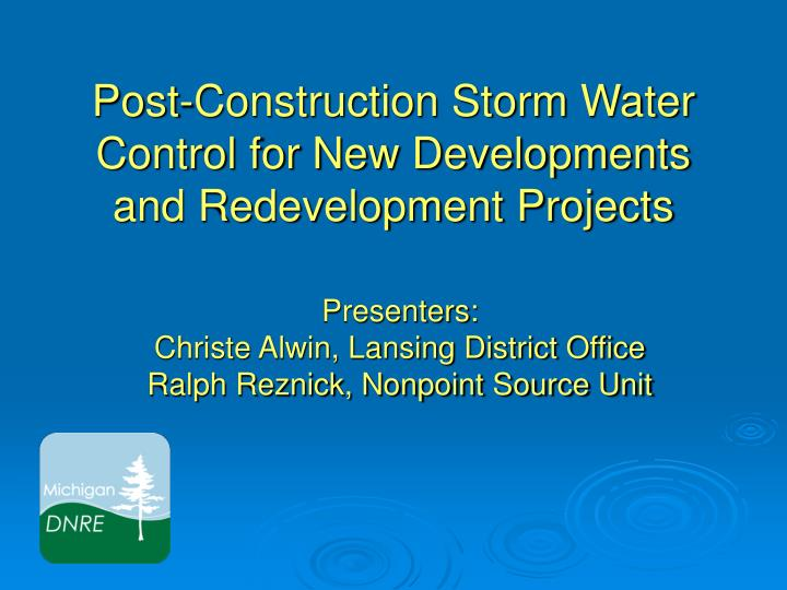 post construction storm water control for new developments and redevelopment projects n.