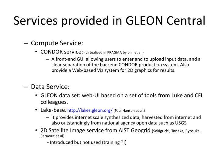 Services provided in GLEON Central
