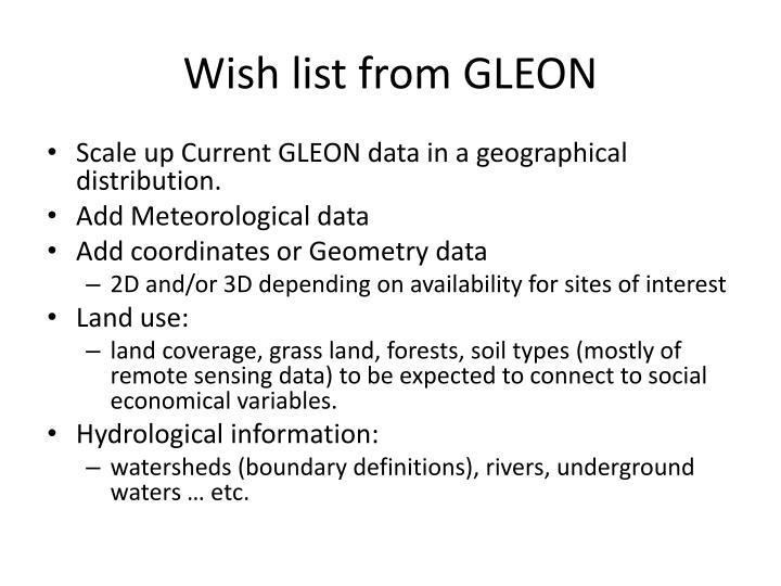 Wish list from GLEON