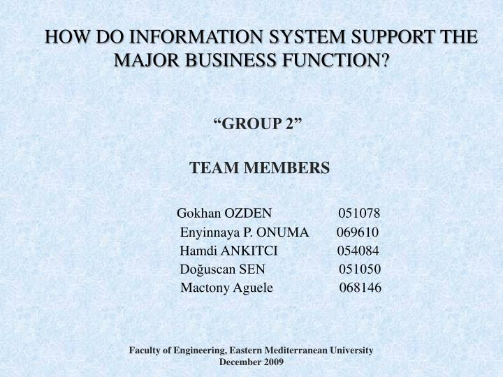 how do information system support the major business function n.