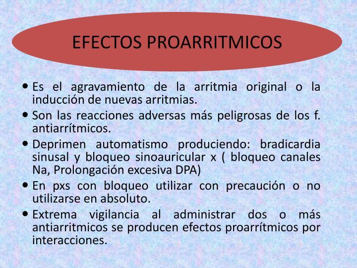 EFECTOS PROARRITMICOS