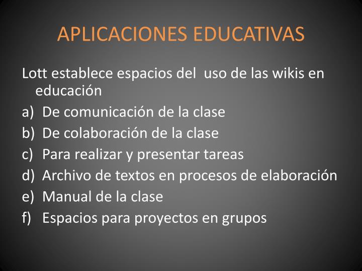 APLICACIONES EDUCATIVAS