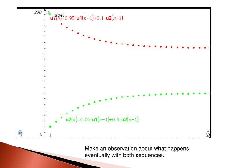 Make an observation about what happens eventually with both sequences.
