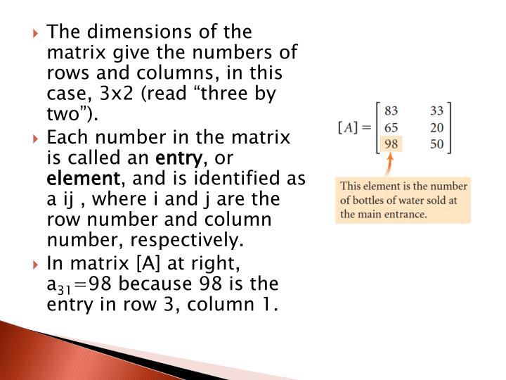 """The dimensions of the matrix give the numbers of rows and columns, in this case, 3x2 (read """"three by two"""")."""