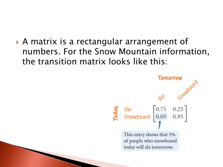 A matrix is a rectangular arrangement of numbers. For the Snow Mountain information, the transition matrix looks like this:
