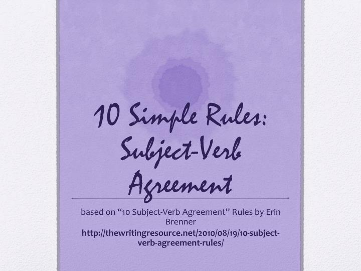 10 simple rules subject verb agreement n.