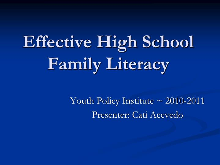 effective high school family literacy n.