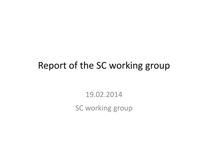 report of the sc working group n.