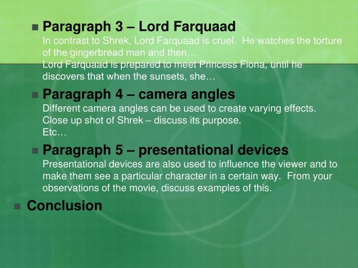 Paragraph 3 – Lord Farquaad