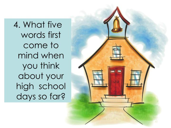 4. What five words first come to mind when you think about your high  school days so far?