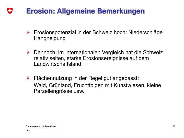Erosion: Allgemeine Bemerkungen