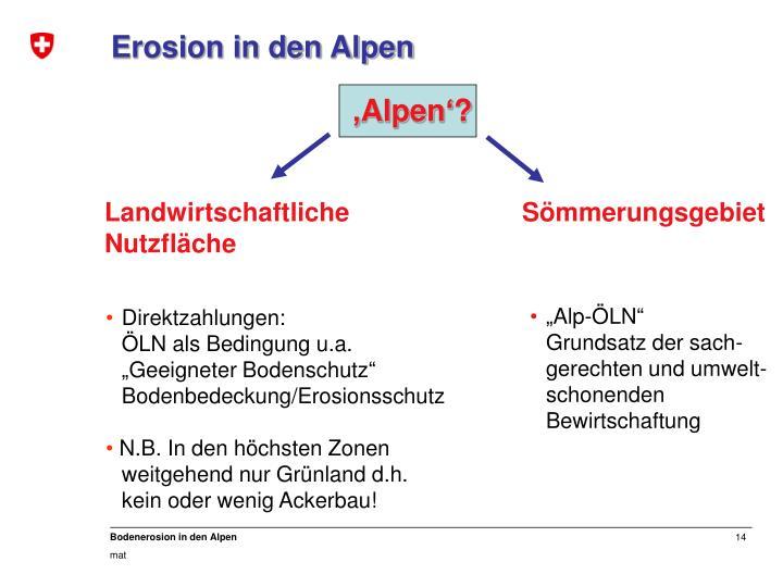 Erosion in den Alpen