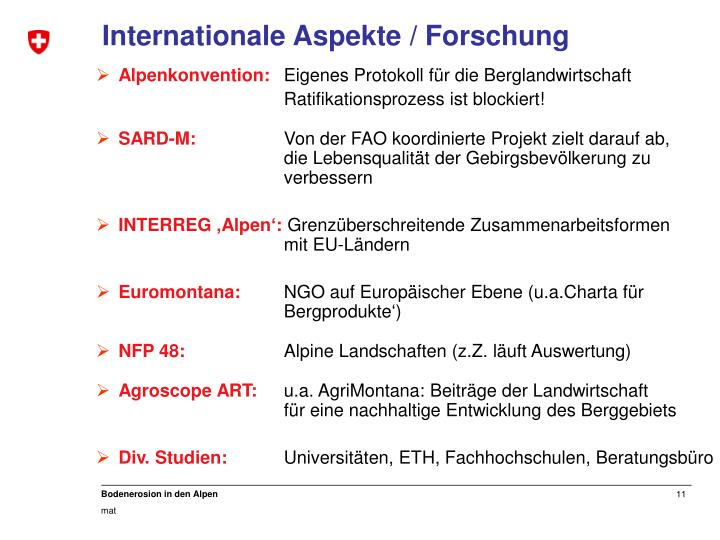 Internationale Aspekte / Forschung