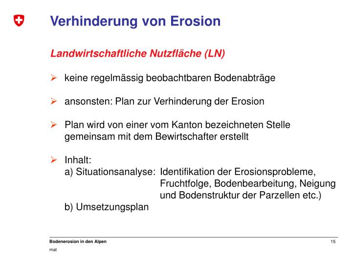 Verhinderung von Erosion