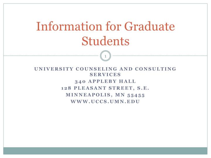 information for graduate students n.