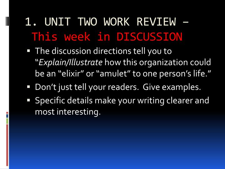 1. UNIT TWO WORK REVIEW –