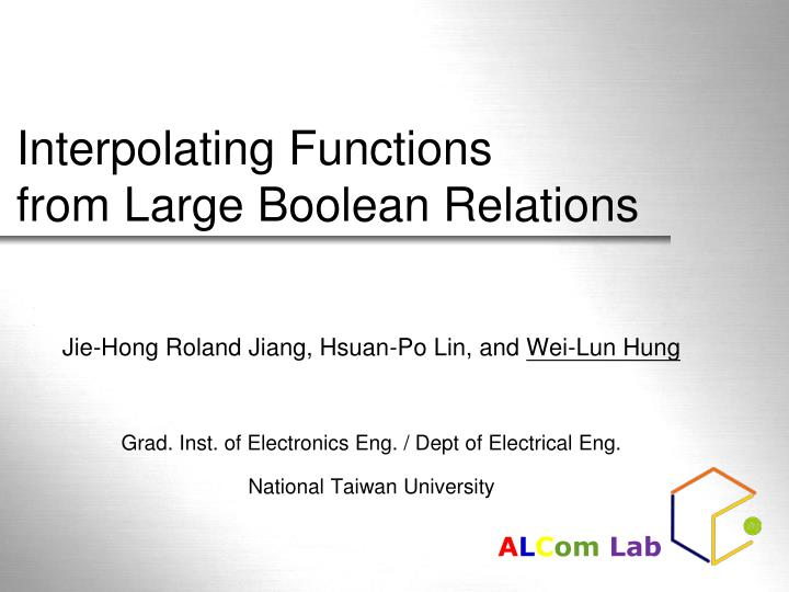 interpolating functions from large boolean relations n.