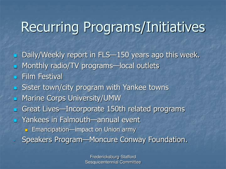 recurring programs initiatives n.