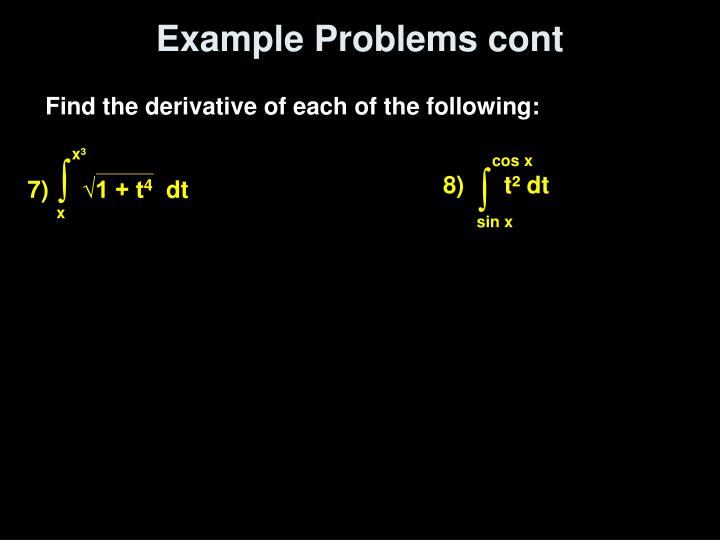 Example Problems cont