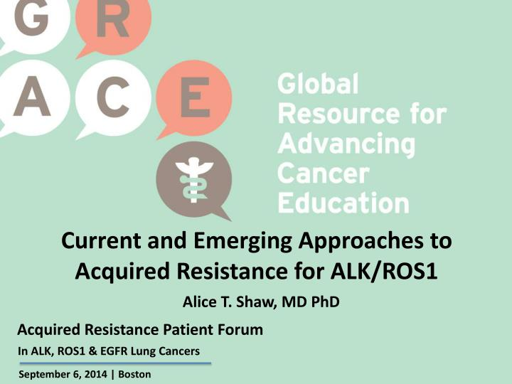 Current and Emerging Approaches to Acquired Resistance for ALK/ROS1