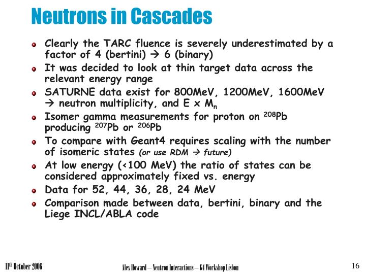 Neutrons in Cascades