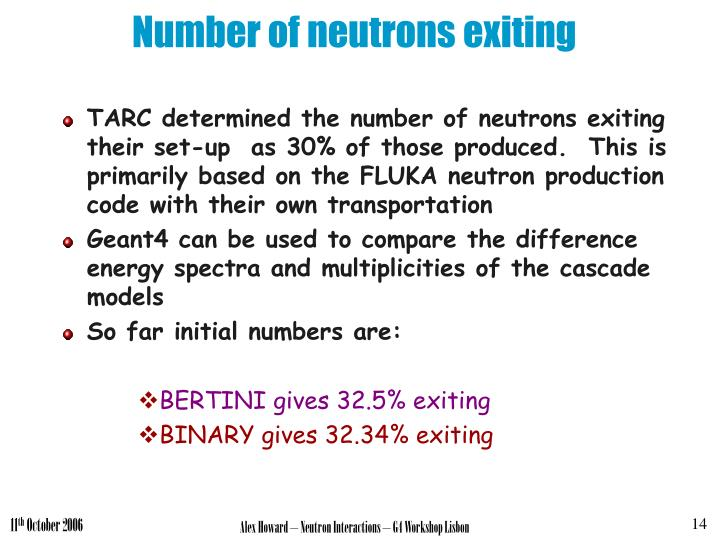 Number of neutrons exiting