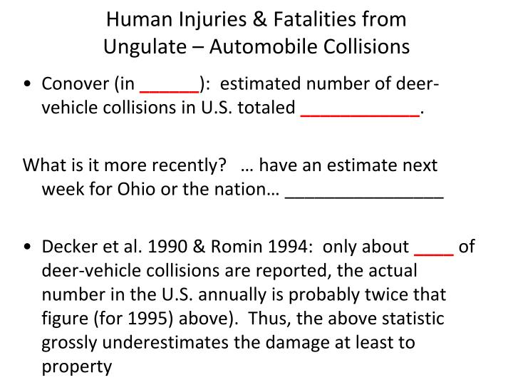 Human Injuries & Fatalities from