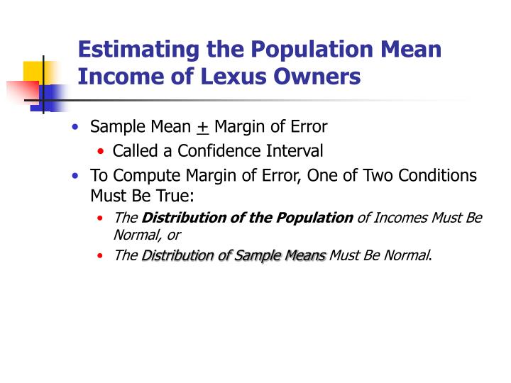 estimating the population mean income of lexus owners n.
