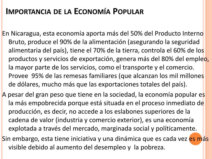 Importancia de la econom a popular