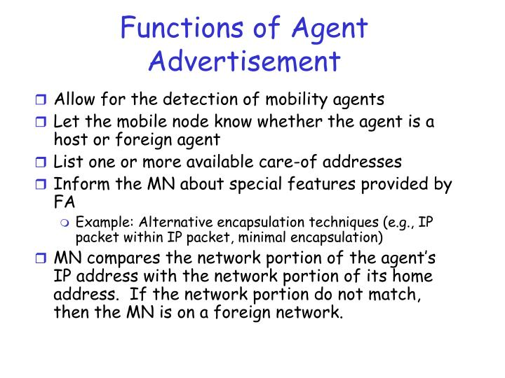 Functions of Agent Advertisement