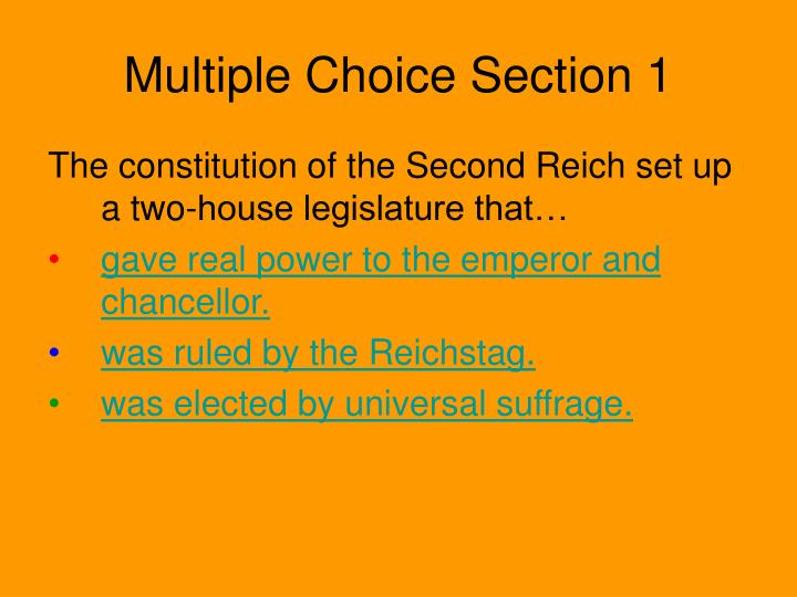 Multiple Choice Section 1