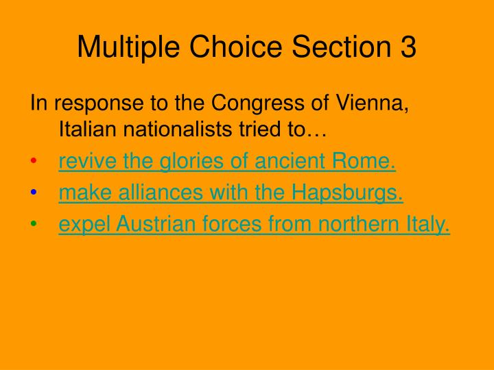Multiple Choice Section 3