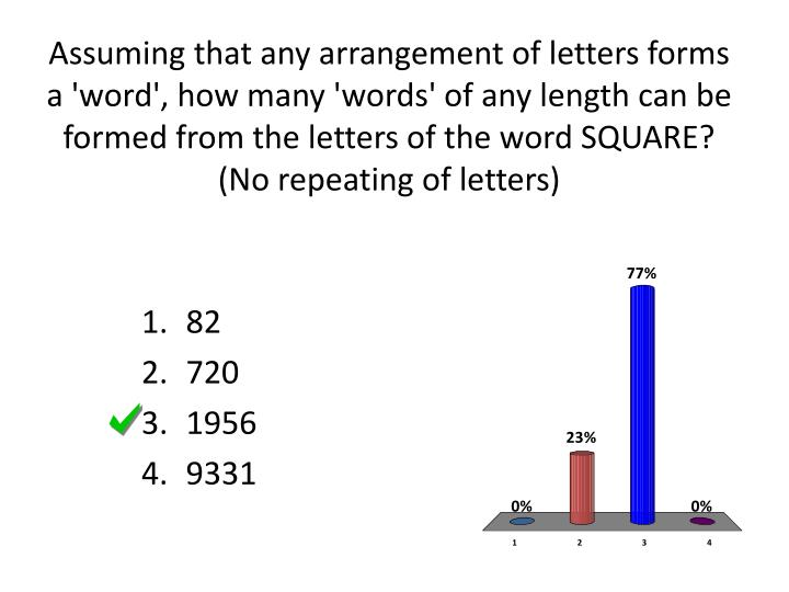 Assuming that any arrangement of letters forms a 'word', how many 'words' of any length can be formed from the letters of the word SQUARE?