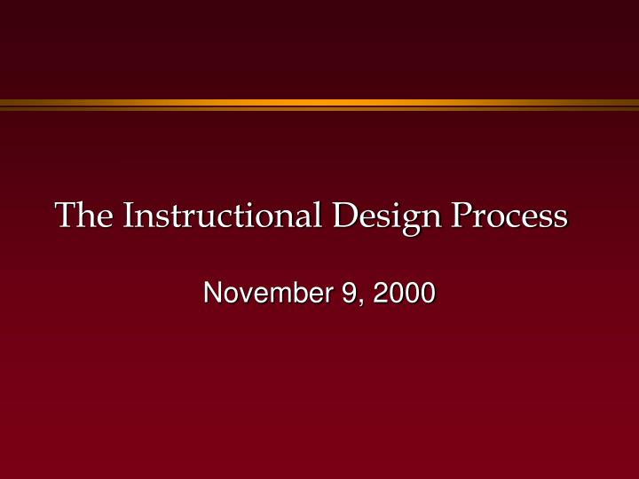 the instructional design process n.