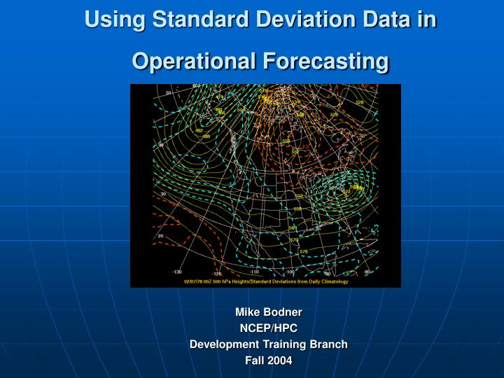 using standard deviation data in operational forecasting n.