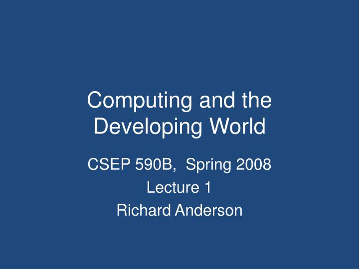 computing and the developing world n.